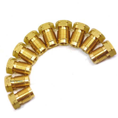"""Brass Brake Pipe Fittings M10 x 1mm Short Male 10 PACK for 3/16"""" Pipe FL13"""