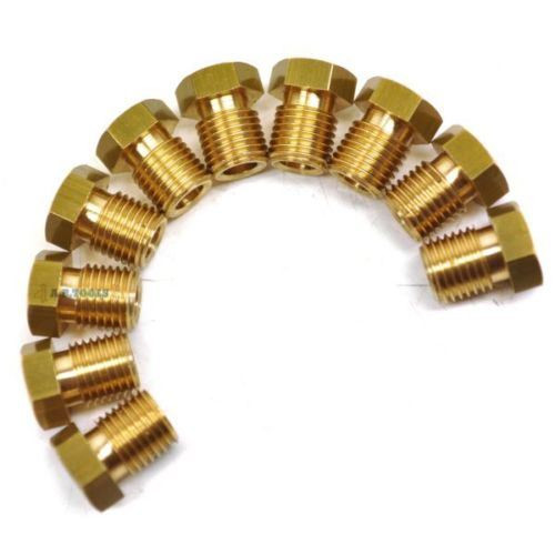 """Brass Brake Pipe Fittings 3/8"""" x 24 UNF Male Short 10 PACK for 3/16"""" Pipe FL17"""
