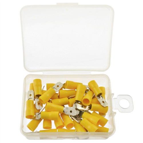 5mm Electrical Wire Yellow Spade Male Terminal Crimps Connectors 30pc AST39