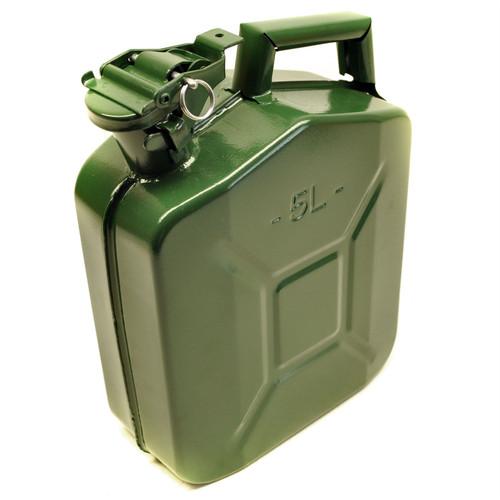 Metal Fuel Jerry Gerry Can Petrol Diesel Liquid Tank Army Green 5L Litre Sil221
