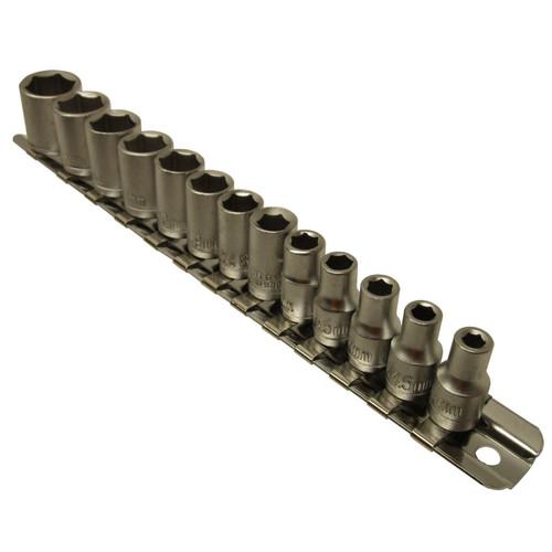 "1/4"" dr metric shallow sockets 13pc 4mm - 14mm 6 sided single hex On Rail TE047"