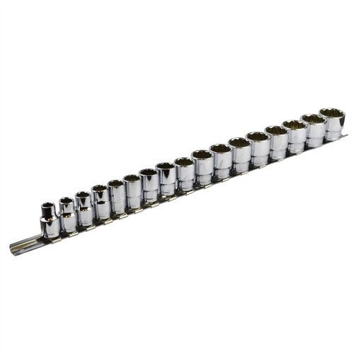 "1/2""dr Shallow Metric Sockets with Storage Rail 17pc Set TE052"