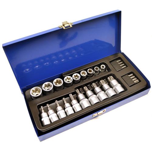"3/8"" 1/2"" Dr Torx / Star Socket and Socket Bit 27pc Set E Type Tamperproof TE067"