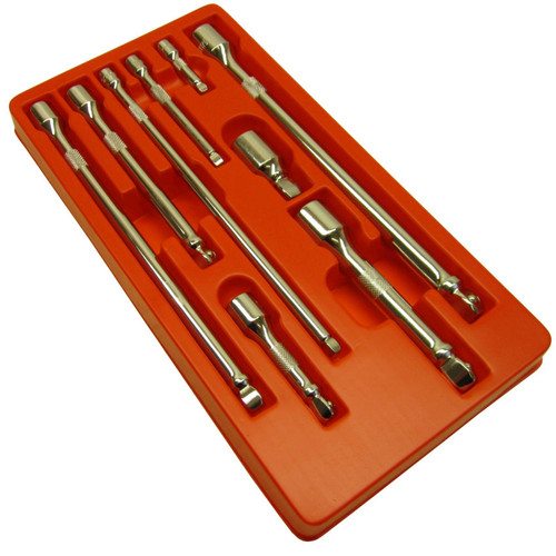 "1/2"" 3/8"" 1/4"" Drive 9pc Extension Straight Wobble Bar Socket Set TE068"