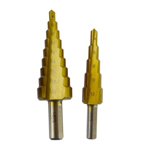 Small & Medium HSS Step Cone Drill Titanium Hole Twist Cutter Circle TE125_TE126