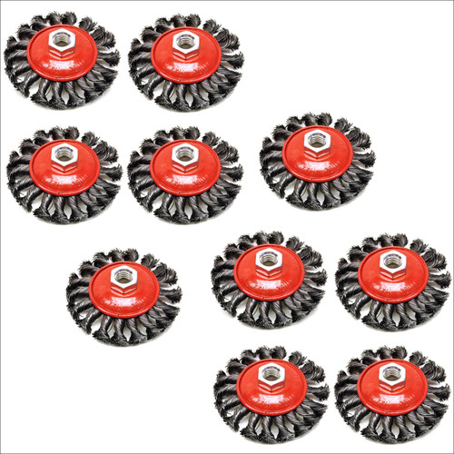 10 PACK Twist Knot Wire Brush / Wheel for Angle Grinder TE242
