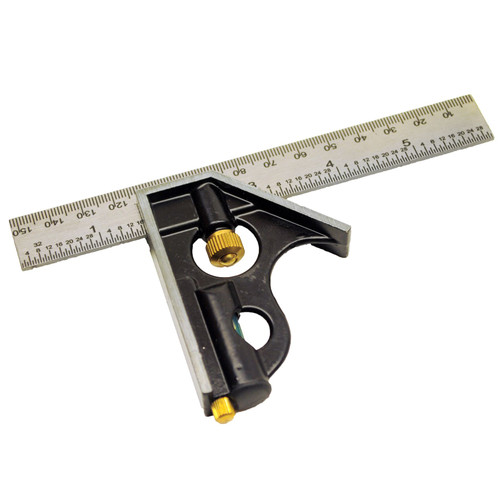 "Engineers Square 6"" 150mm Adjustable Combination Set Square + Level TE256"