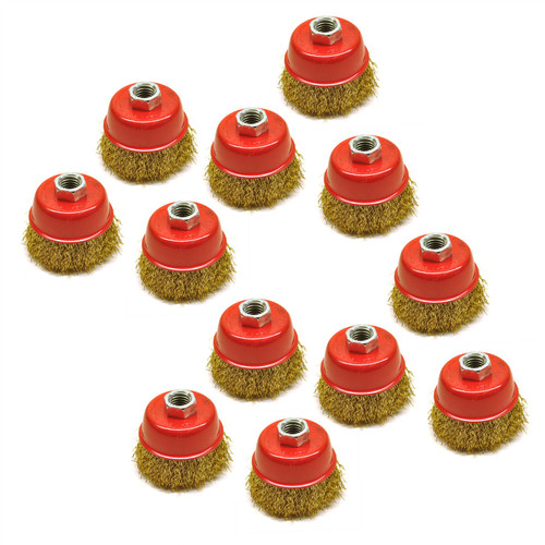 Wire Cup Brush / Wheel for Angle Grinder Crimped Brass Coated (12 Pack) TE331