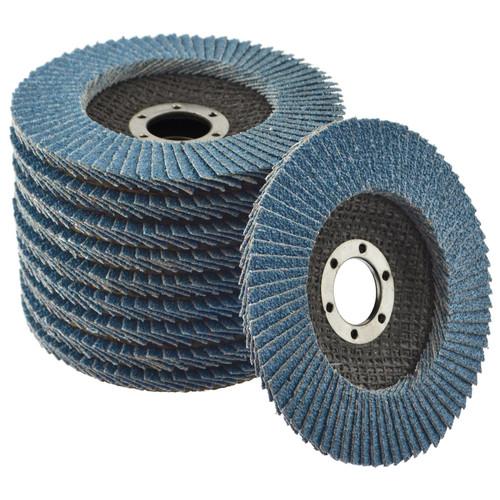 "Flap Sanding Disc for Angle Grinder Zirconium 10pk 60 Grit 4-1/2"" TE332"