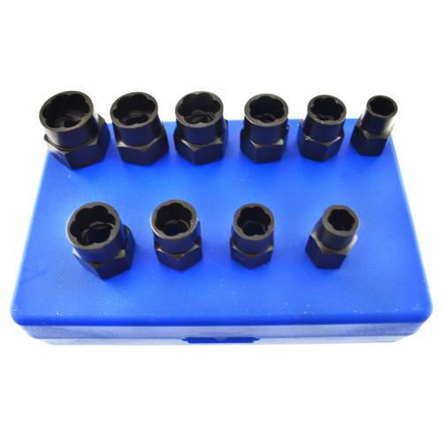 """10pc 3/8"""" Bolt Nut Twist Socket / Wheel Lock Nut Remover / Extractor Set AT080"""