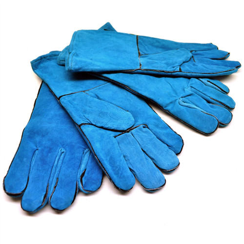 Safety Protection Green Welding Gardening Gloves Suede Gauntlets Two Pairs TE454