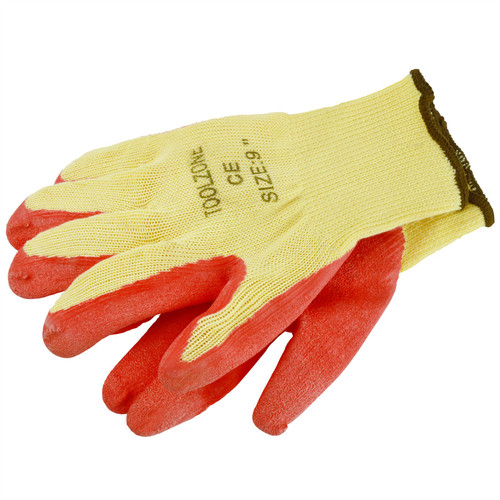 "9"" Pair Builders Protective Gardening DIY Latex Rubber Coated Work Gloves TE696"