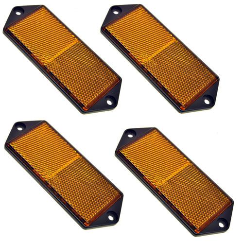 Amber Large Rectangular Side Reflector Pack of 4 Trailer Fence / Gate Post TR067