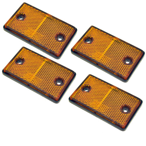 Amber Rectangular Side Reflector Pack of 4 Trailer Fence Gate Post TR068