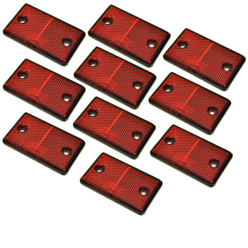 Red Rectangular Rear Reflector Pack of 10 Trailer Fence Gate Post TR074