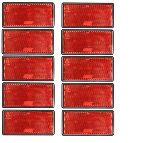 Red Large Rear Reflector 10 Pack Trailer Fence Gate Post Self-Adhesive TR212