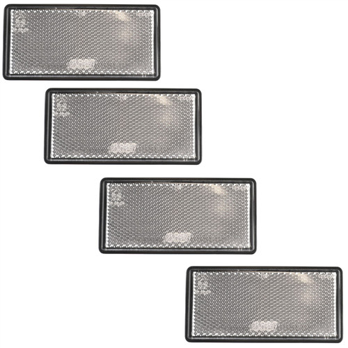 White Large / Clear Reflector 4 Pack Trailer Fence Gate Post Self-Adhesive TR213