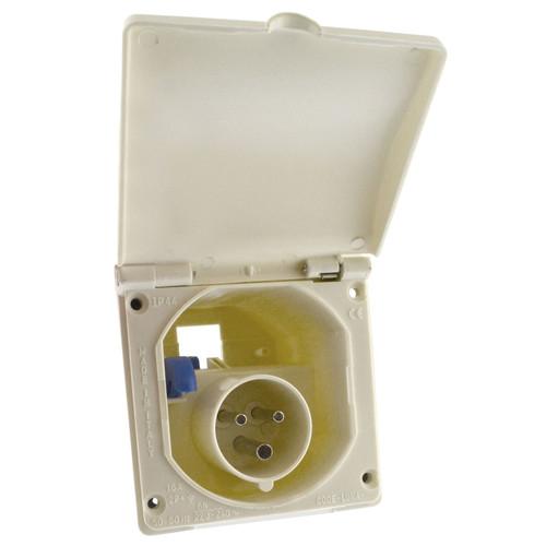 230v Mains 16A Flush Inlet Socket White for Caravan Motorhome Trailer IP44 TR218