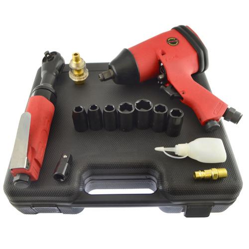 "1/2"" Drive Impact Gun Wrench 3/8"" Drive Air Ratchet Plus 7 Impact Sockets"