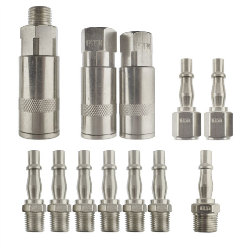 Air Line Hose Compressor Fitting Connector Quick Release Set 1/4 inch 3/8 BSP 12pc