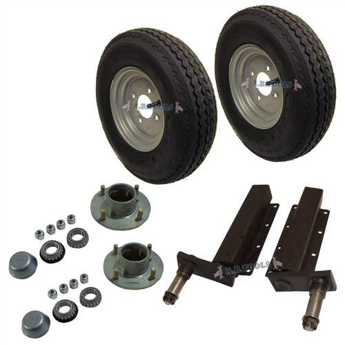 "500kg Trailer Suspension Units Hub Bearing 4""PCD 4 Stud Wheel Tyre 400x8"" 4PLY"