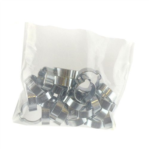 Double Ear Pipe Tube Clips Clamps Hose Fuel Clamp Hydraulic 20mm - 23mm 25pcs