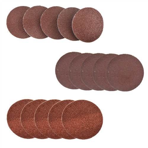 15pc Flap Disc Set 50mm Twist Button Abrasive Discs Sanding Mixed 60 80 120 Grit