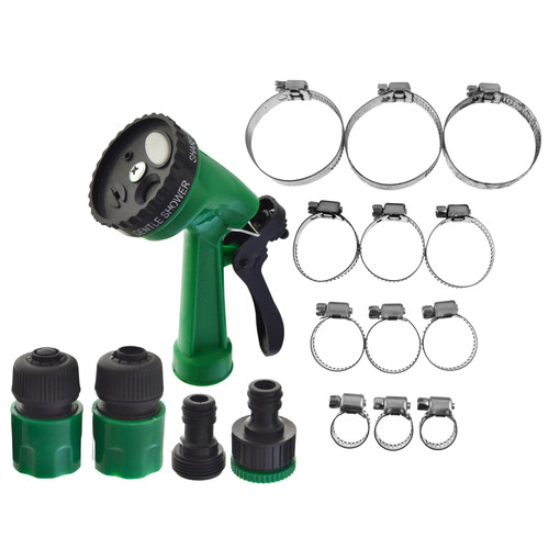 6pc Adjustable Hose Pipe Connectors Fittings Sprayer & 12pc Clamp Jubilee Clip