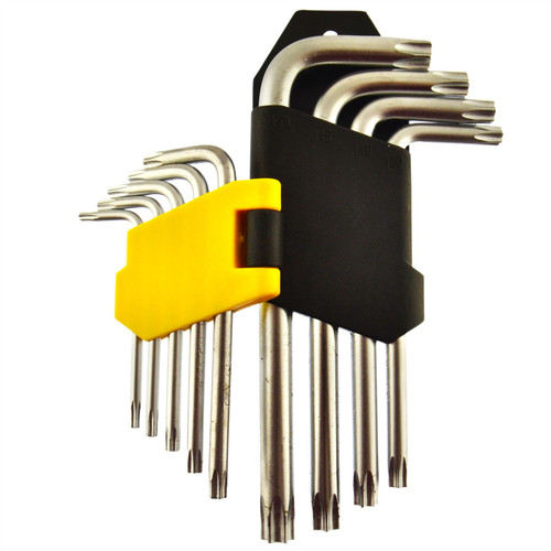 Short Torx / Tamperproof Torx Star Allen Key Bits Set T10 - T50 9pc By Bergen
