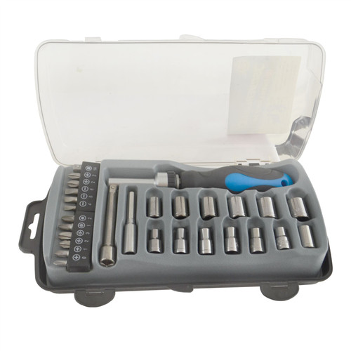 28pc Socket Ratchet Screwdriver Driver Bit Set 4 - 13mm Phillips Pozi Slotted SIL084
