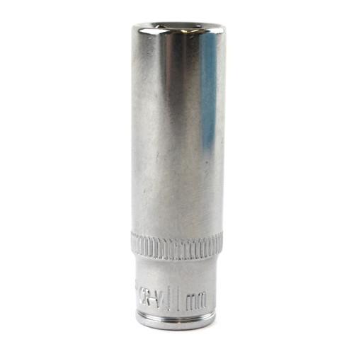 """11mm 1/4"""" Drive Double Deep Metric Socket Single Hex / 6 sided Bergen"""