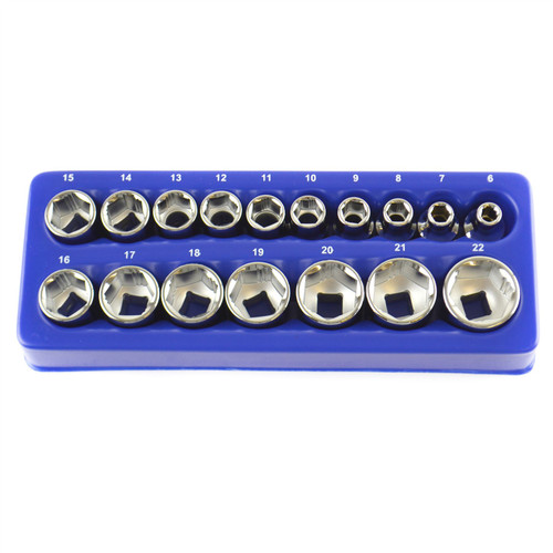 "17pc 3/8"" Drive XI-ON Sockets 6mm - 22mm Suitable for Rounded Off Nuts Bergen"