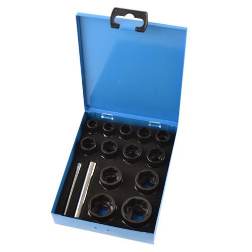 "15pc 3/8"" 1/2"" Dr Bolt Nut Twist Socket Wheel Lock Nut Remover Extractor 9-27mm"