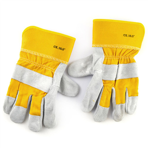 Leather Work Gloves 10.5'' Protective Wear Safety Builders Cuff Fleece Lining TE940