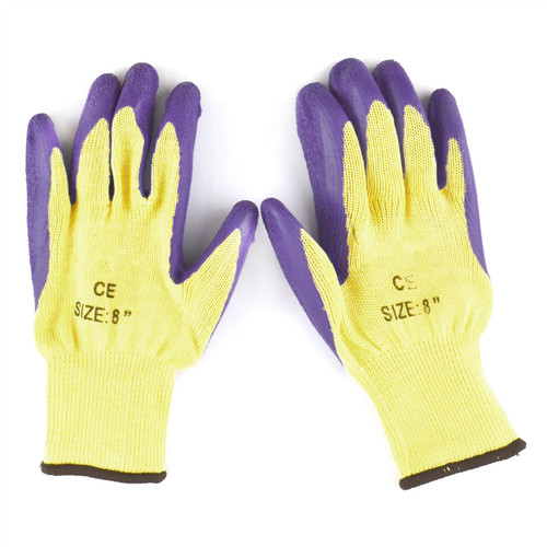 "8"" Builders Protective Gardening DIY Latex Rubber Coated Work Gloves Purple x 10"