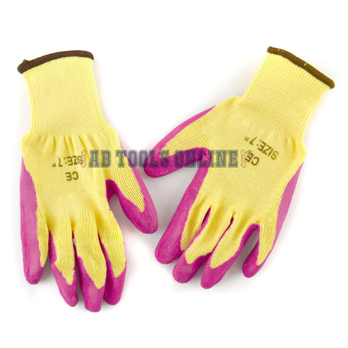 """7"""" Builders Protective Gardening DIY Latex Rubber Coated Work Gloves Pink x 10"""