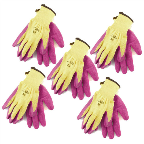 """7"""" Builders Protective Gardening DIY Latex Rubber Coated Work Gloves Pink x 5"""