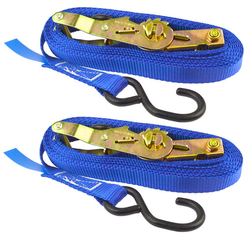 Blue Ratchet Strap Tie Down Trailer 4m Hook Cargo Strap 325kg Lashing x 2 (Pair)