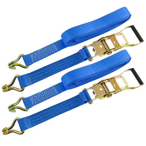 Ratchet Strap Trailer Tie Down 8m Handle Hooks Recovery 2.5 Ton Lashing x 2