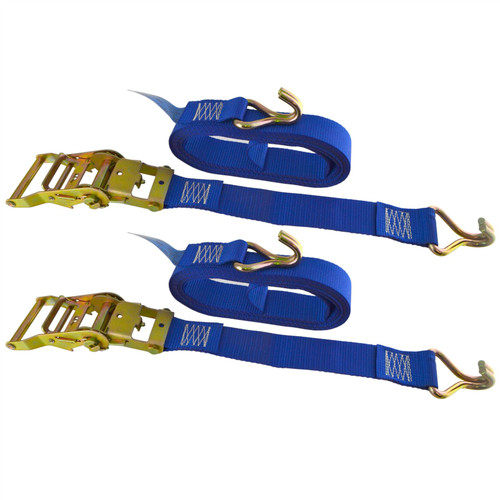 Blue Ratchet Strap Tie Down Trailer 5m Hook Cargo Strap 750kg Lashing x 2 (Pair)
