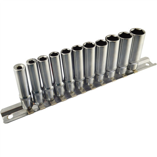 "1/4"" Drive Metric MM Double Deep Sockets 11pc 4mm - 13mm 6 Sided By Bergen"