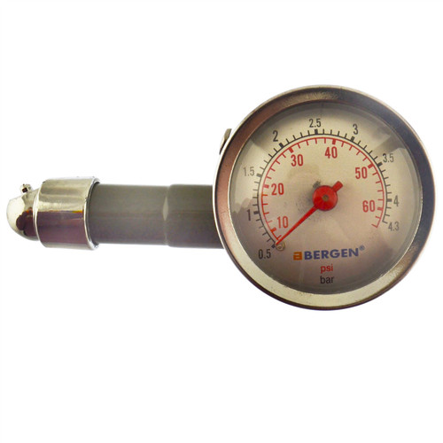 Tyre Pressure Gauge With Dial Push On Air Release 0 - 60 PSI 0 - 4.3 BAR Bergen