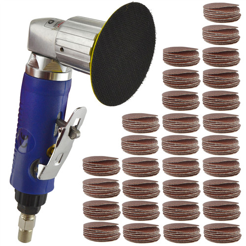 "2"" Air Angle Sander Grinder Polisher And 300 Pack 40 120  240 Grit Hook/Loop Pads"