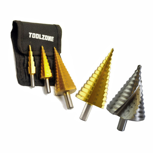 4 - 60mm Step Cone Drill Steps Hole Cutter HSS 4341 Finish Reamer Master Kit