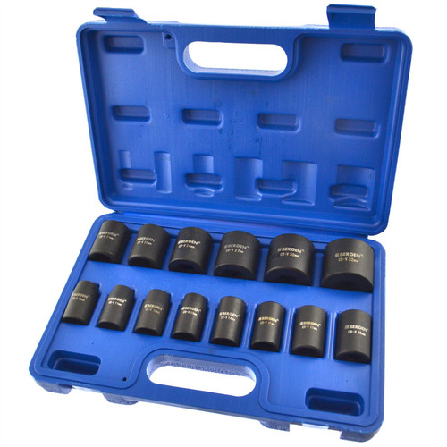 "1/2"" drive metric shallow impact sockets 10mm - 32mm 14pc set by BERGEN AT405"
