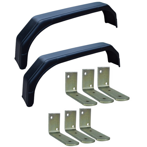 "Pair 13"" Twin Wheel Tandem Mudguards 58"" x 7"" And Fender Wing (SMALL) Brackets 6pc"