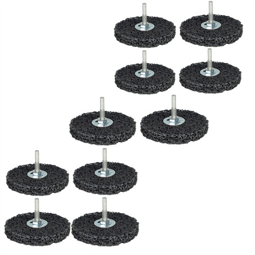 10 x 100mm Rust Paint Welding Spatter Removal Clean And Strip Disc 6mm Shank