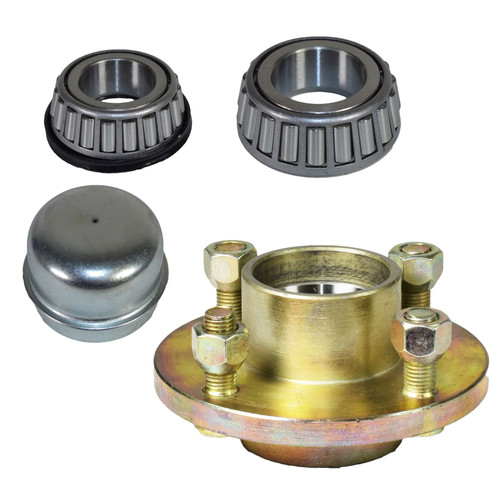 "Trailer Cast Wheel Hub 100mm PCD 1"" Taper Bearing 4 Stud With Nuts And Cap"