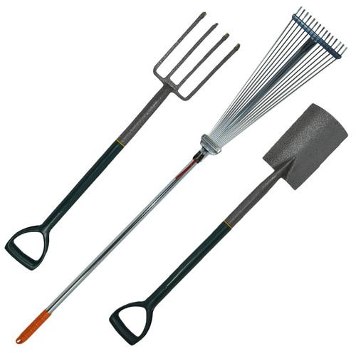 Expanding Lawn Rake & Carbon Steel Border Spade & Carbon Steel Border Fork