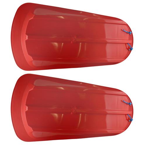 2 Plastic Heavy Duty Outdoor Snow Sledge Toboggan Sleigh Bobsled Bobsleigh